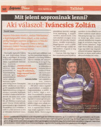 Pluzsik Tamás Mit jelent soproninak lenni In. Soproni Téma. Sopron, 2012.04.25.